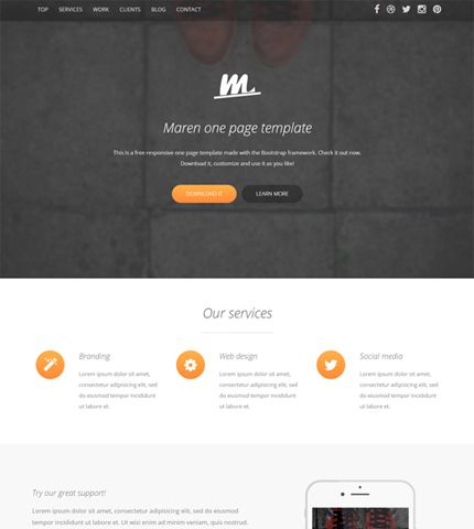Free Template Maren - Bootstrap One Page Business Theme within Bootstrap Templates For Business