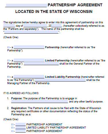 Free Wisconsin Partnership Agreement Template   Pdf   Word regarding Unique Business Partnership Contract Template Free
