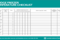 Fridge Freezer Temperature Checklist   Freezer, Templates pertaining to New Health And Safety Policy Template For Small Business