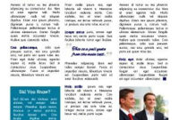 Front Page. General Business Newsletter. 3 Column, Blue for Business Case One Page Template