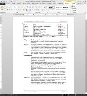 Fsms Prerequisite Programs Procedure | Fds1050 | Business inside Quality Small Business Operations Manual Template
