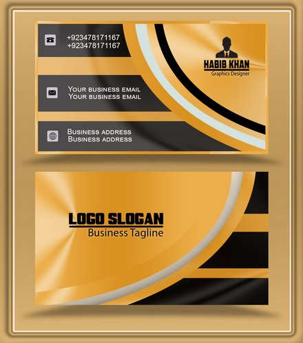 Golden Business Card Golden Visiting Card Template Eps Psd With Unique Business Card Size Template Psd