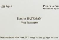 Great Movie | American Psycho, Comunicacion Visual Y regarding Quality Paul Allen Business Card Template