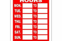 Hillman 839992 Business Hours Sign With Space For Fill In Intended For Printable Business Hours Sign Template