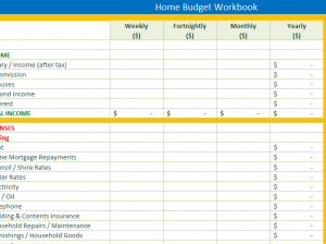 Home Budget Workbook - My Excel Templates for Quality Free Small Business Budget Template Excel