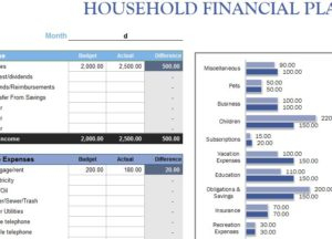 Household Financial Planner - My Excel Templates pertaining to Excel Templates For Retail Business