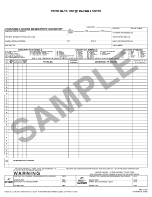 Household Goods Descriptive Inventory Form - Fill Online intended for Quality Business Process Inventory Template