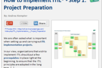 How To Implement Itil: Step 1 — Project Preparation in Business Data Dictionary Template