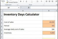 Inventory Days Calculator Excel | Day Calculator, Business within Unique One Page Business Summary Template
