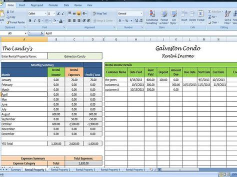 Landlords Spreadsheet Template, Rent And Expenses regarding Business Relocation Plan Template