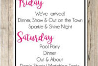 Las Vegas Bachelorette Party Weekend Invitation With Itinerary inside Bachelorette Party Agenda Template