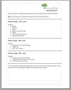 Lawn Care Bid Example Page2 | Lawn Care Business Marketing Intended For Lawn Care Business Plan Template Free