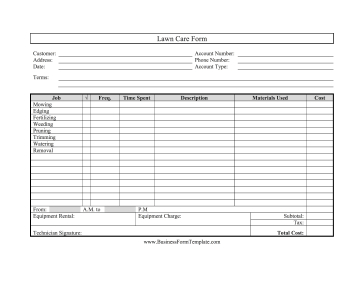 Lawn Care Form Template inside Customer Service Business Plan Template