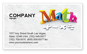 Math Addition Business Card Template, Layout. Download in Quality Business Card Template Word 2010