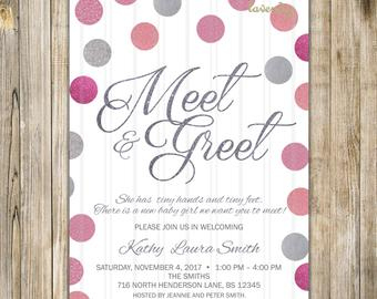 Meet And Greet Invitation Silver Blue Glitters Meet The Baby within Bridal Shower Agenda Template
