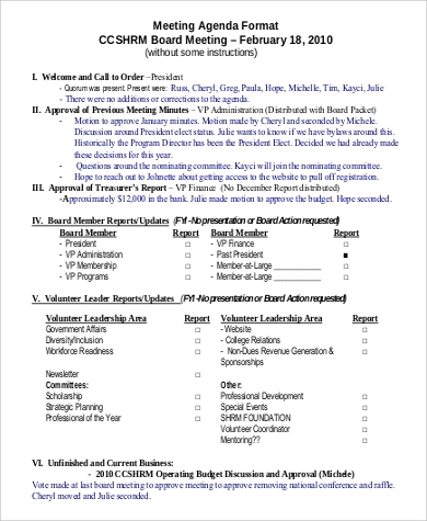 Meeting Agenda Format Sample - 9+ Examples In Pdf intended for Business Meeting Request Template
