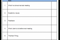 Meeting Agenda Pertaining To 1 On 1 Meeting Agenda Template