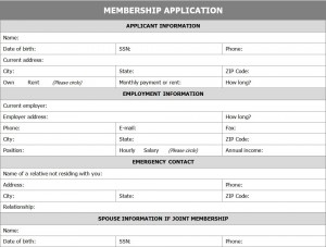 Membership Application Form | Application For Membership Form intended for Prince2 Business Case Template Word