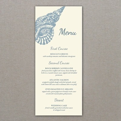 Menu Template - Sea Shell Design   Download & Print in Business Card Template For Word 2007