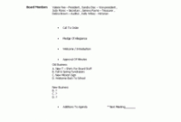 Mission Pta Board Meeting Agenda Template   Agenda inside Business Card Template For Word 2007