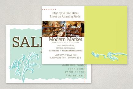 Modern Market Antique Shop Postcard Template | Inkd with Business Card Template Word 2010