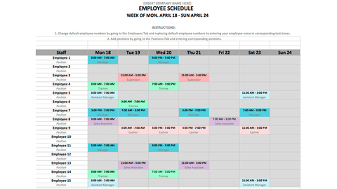 Monthly Employee Schedule Template Pdf : Schedule Sheet throughout Simple Business Plan Template Excel