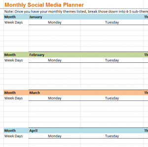 Monthly Social Media Planner - My Excel Templates for New Marketing Plan For Small Business Template
