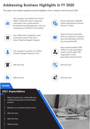 One Page Addressing Business Highlights In Fy 2020 regarding Quality Business One Sheet Template