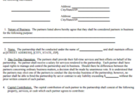 One Page Partnership Agreement inside Business Partnership Agreement Template Pdf