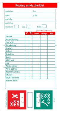 Pallet Racking Safety Inspection Check Book for Quality Data Warehouse Business Requirements Template