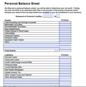 Personal Balance Sheet | Template Business in Unique Balance Sheet Template For Small Business