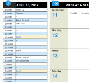 Personal Daily Schedule - My Excel Templates throughout New Personal Training Business Plan Template Free