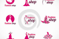 Pink Woman Dress Fashion Shop Logo Vector Set Design Stock within Clothing Store Business Plan Template Free