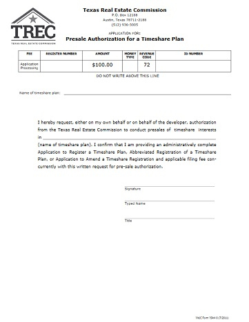 Presale Authorization For A Timeshare Plan | Trec regarding Fresh Real Estate Agent Business Plan Template Free