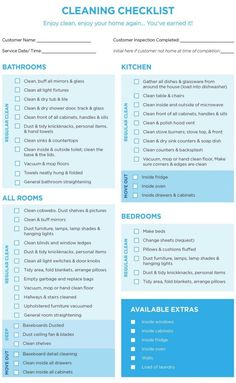 Professional House Cleaning Checklist Printable within Recruitment Agency Business Plan Template