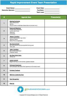 Rapid Improvement Event - Team Presentation with regard to Six Sigma Meeting Agenda Template