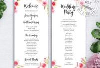 Reception Program   Etsy with regard to Wedding Reception Agenda Template