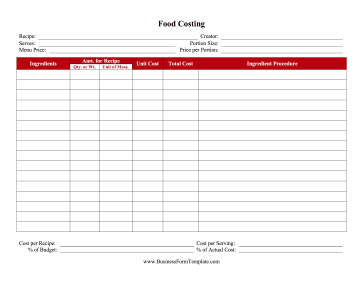 Recipe Food Costing Worksheet Template intended for New Business Costing Template
