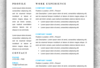 Resume Template Start – Professional Resume Templates For Word throughout Simple Business Profile Template