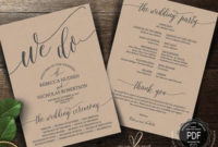 Rustic Wedding Program Pdf Card Template Instant Download inside Wedding Ceremony Agenda Template