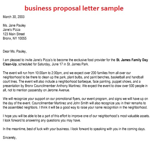 Sample Business Proposal   Template Business throughout Business Partnership Proposal Letter Template