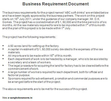 Sample Business Requirements Document Template   Kambin regarding Brd Business Requirements Document Template