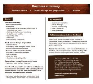 Sample Business Summary, Business Summary Template within Best Executive Summary Of A Business Plan Template