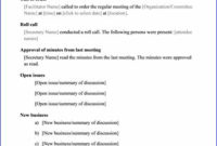 Sample Meeting Minute Templates | Formal Word Templates throughout Small Business Meeting Agenda Template