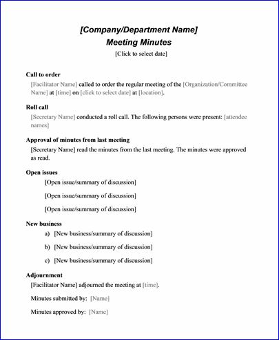 Sample Meeting Minute Templates | Formal Word Templates with Agenda And Meeting Minutes Template