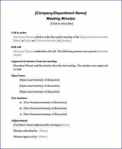 Sample Meeting Minute Templates | Formal Word Templates With Agenda And Meeting Minutes Template