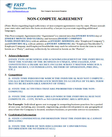 Sample Non Compete Agreement Between Businesses Template for Business Templates Noncompete Agreement