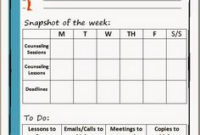 Sample Weekly Counseling Schedule | School Counseling regarding Middle School Agenda Template