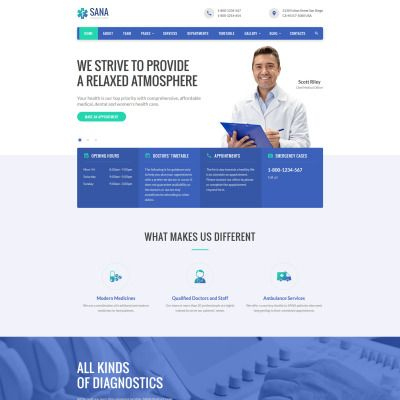 Sana - Medical Clean Responsive Website Template #59090 within Website Templates For Small Business