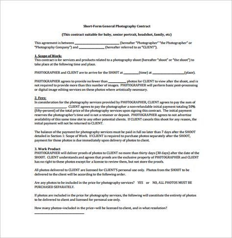 Short Form General Photography Contract Pdf Free Download throughout Fresh General Contractor Business Plan Template
